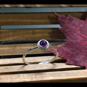 Genuine amethyst cabochon artisan sterling ring